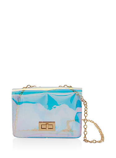 Clear Iridescent Crossbody Satchel,MULTI COLOR,large