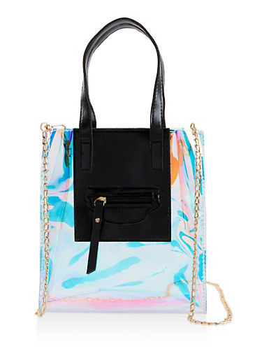 Iridescent Crossbody Tote Bag,BLACK,large