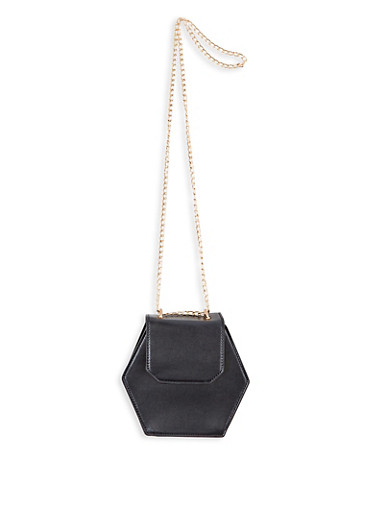 Hexagonal Faux Leather Crossbody Bag,BLACK,large
