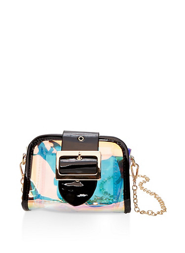 Clear Iridescent Crossbody Bag,BLACK,large