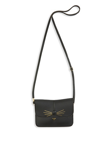 Lovely Cat Faux Leather Crossbody Bag,BLACK,large