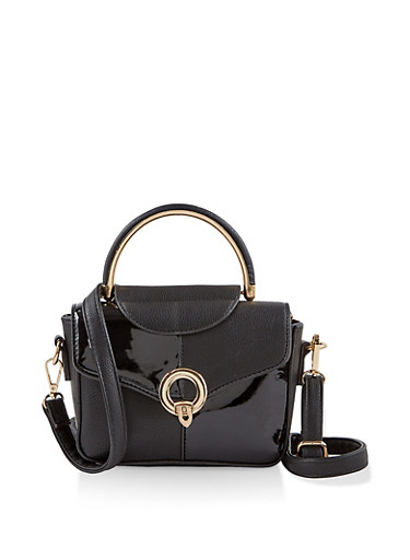 Metallic Handle Crossbody Satchel,BLACK,large