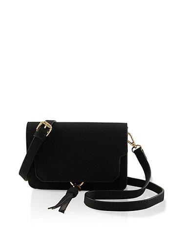 Small Tassel Crossbody Bag,BLACK,large