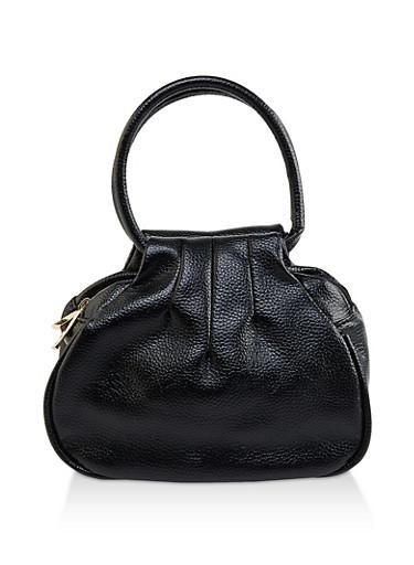 Small Double Zip Faux Leather Handbag,BLACK,large