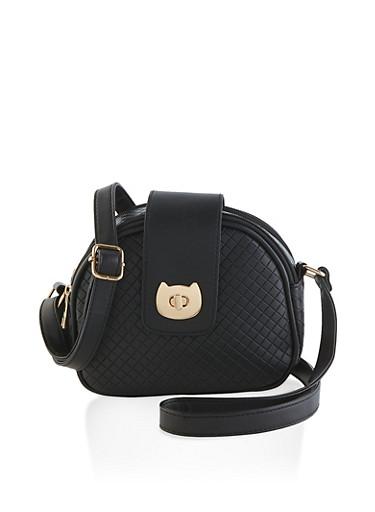 Cat Flap Lock Embossed Crossbody Bag,BLACK,large
