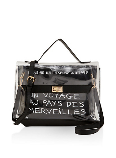 French Graphic Clear Satchel,BLACK,large