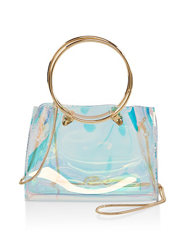 Small Clear Iridescent Crossbody Bag,MULTI COLOR,large