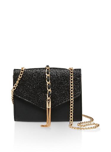 Glitter Flap Faux Leather Crossbody Bag,BLACK,large