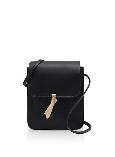 Knot Detail Crossbody Bag,BLACK,large