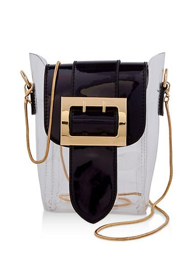 Buckle Flap Clear Crossbody Bag,BLACK,large