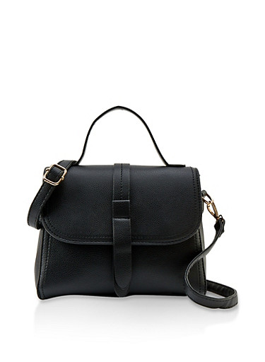 Structured Faux Leather Crossbody Bag,BLACK,large