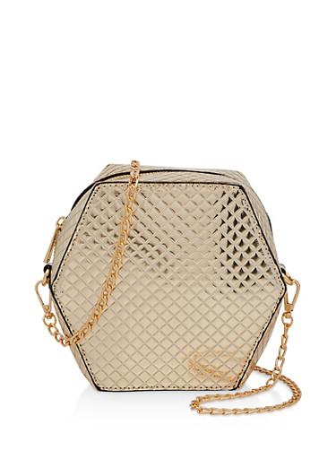 Geometric Embossed Crossbody Bag,GOLD,large