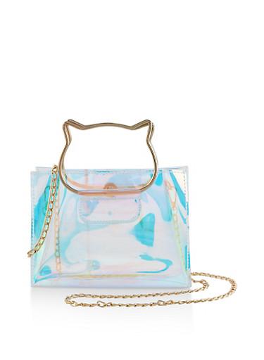 Cat Handle Iridescent Crossbody Bag,MULTI COLOR,large