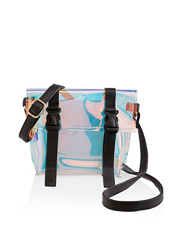Clear Iridescent Double Buckle Crossbody Bag,BLACK,large