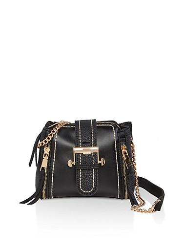 Small Buckle Crossbody Bag,BLACK,large