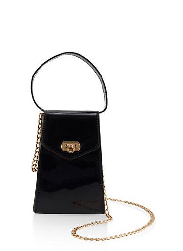 Mini Faux Patent Leather Crossbody Bag,BLACK,large
