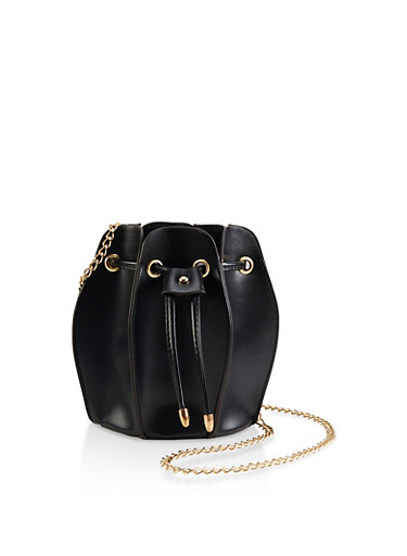 Accordion Bucket Bag,BLACK,large