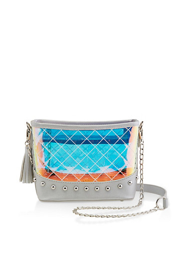 Studded Clear Iridescent Crossbody Bag,SILVER,large