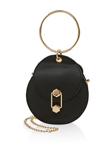 O Ring Handle Round Crossbody Bag,BLACK,large