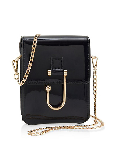 Hook Buckle Crossbody Bag,BLACK,large