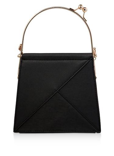 Kiss Lock Faux Leather Handbag,BLACK,large