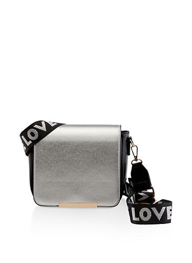Color Block Crossbody Bag,BLACK,large