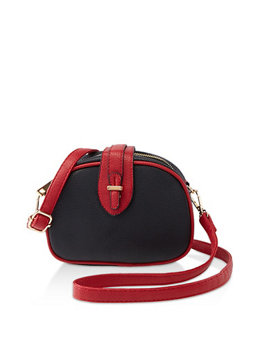 Contrast Trim Faux Leather Crossbody Bag,BLACK,large