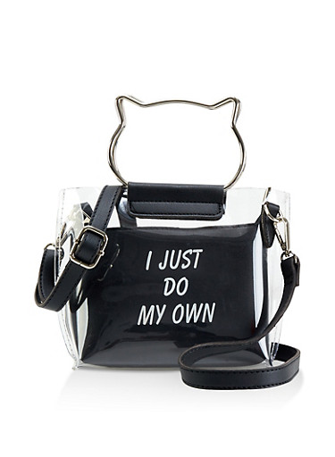 Clear Metallic Cat Handle Crossbody Bag,BLACK,large