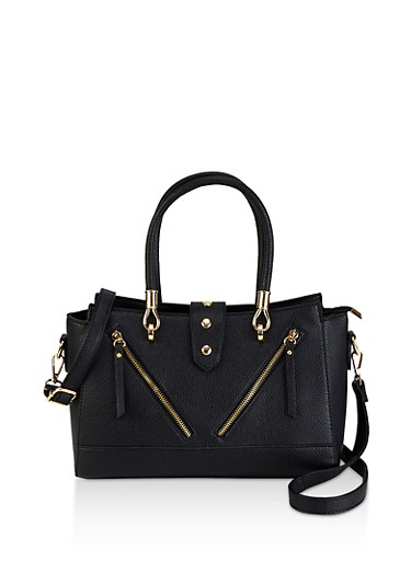 Zipper Detail Faux Leather Satchel,BLACK,large