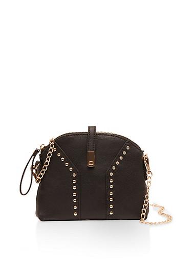 Studded Chain Strap Crossbody Bag,BLACK,large