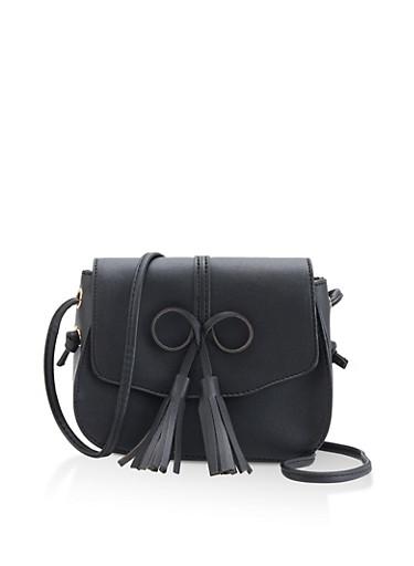 Tassel Bow Faux Leather Crossbody Satchel,BLACK,large