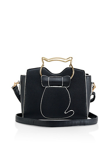 Metallic Cat Handle Crossbody Bag,BLACK,large