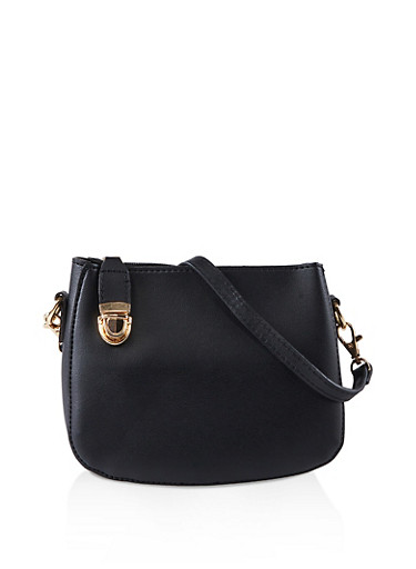 Top Zip Crossbody Bag,BLACK,large