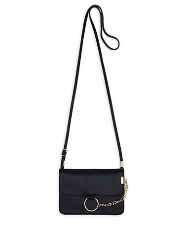 Chain Detail Crossbody Bag | 1124073897057,BLACK,large
