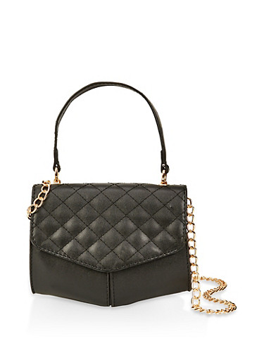 Quilted Flap Crossbody Bag,BLACK,large