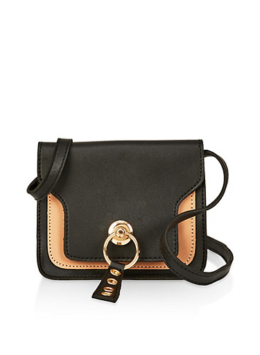 Two Tone Crossbody Bag,BLACK,large