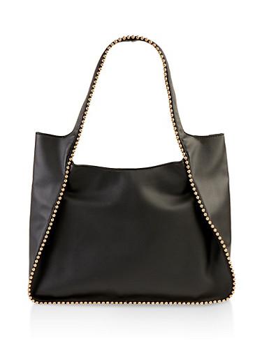 Studded Detail Hobo Bag,BLACK,large