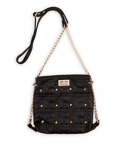 Threaded Chain Strap Crossbody Bag,BLACK,large