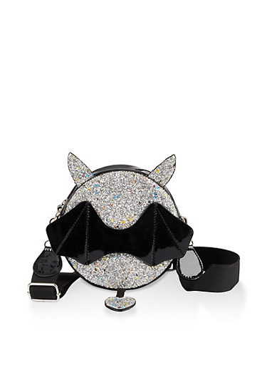 Glitter Bat Crossbody Cantine Bag,BLACK,large