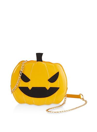 Jack O Lantern Crossbody Bag,YELLOW,large