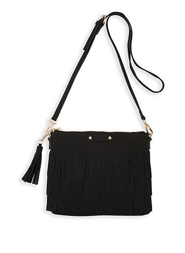 Faux Suede Fringe Crossbody Bag,BLACK,large