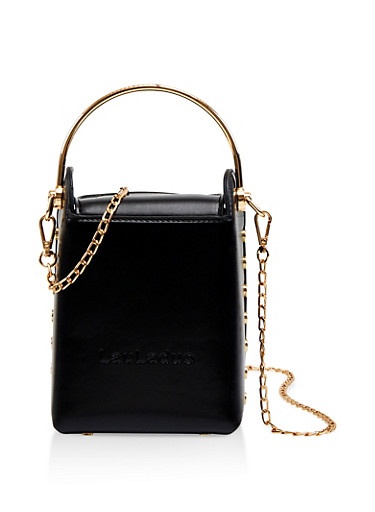 Studded Metallic Handle Crossbody Bag,BLACK,large