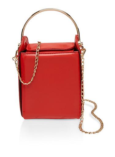Studded Metallic Handle Crossbody Bag,RED,large