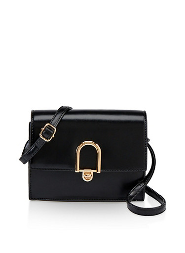 Turn Lock Faux Leather Crossbody Bag,BLACK,large