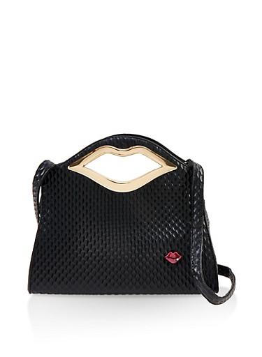 Lip Handle Handbag,BLACK,large