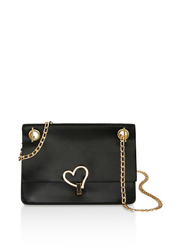 Heart Closure Chain Crossbody Bag,BLACK,large