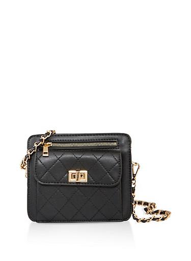 Decorative Stitch Faux Leather Crossbody Bag,BLACK,large