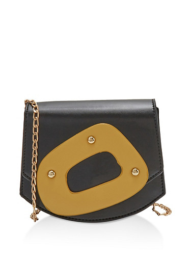 Studded Contrast Handle Crossbody Bag,BLACK,large