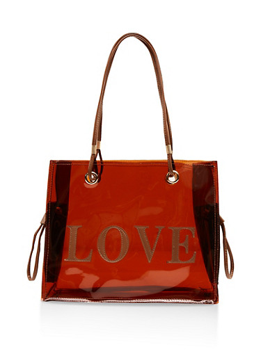 Love Embroidered Tote Bag,BROWN,large