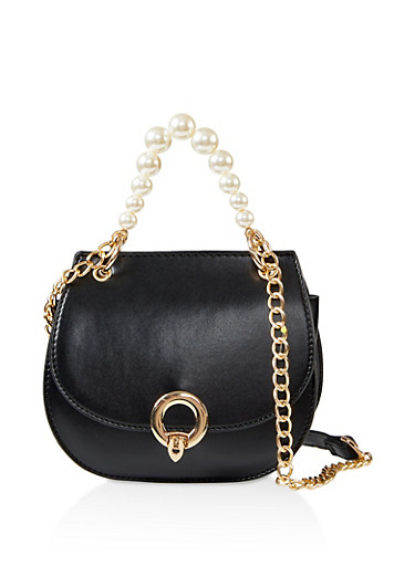 Faux Pearl Handle Crossbody Saddle Bag,BLACK,large